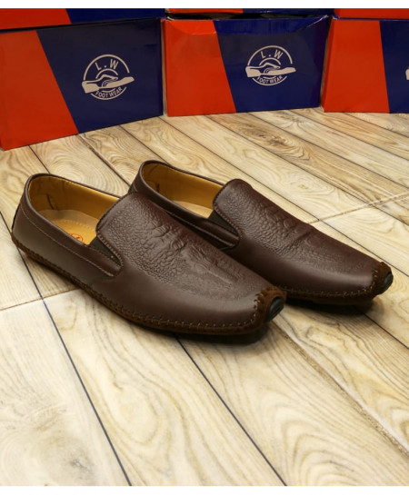 Choco Brown Textured DesignSlip On Loafers LW-7119