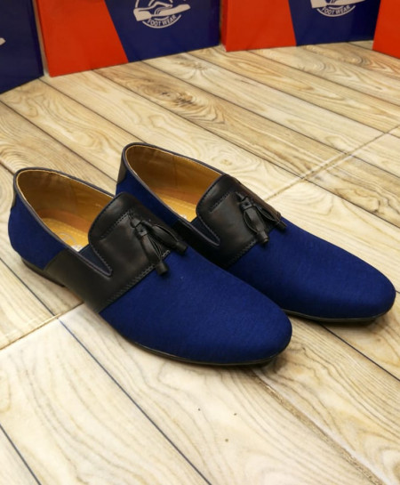 Blue Black Bow Knotted Style Loafers LW-7126