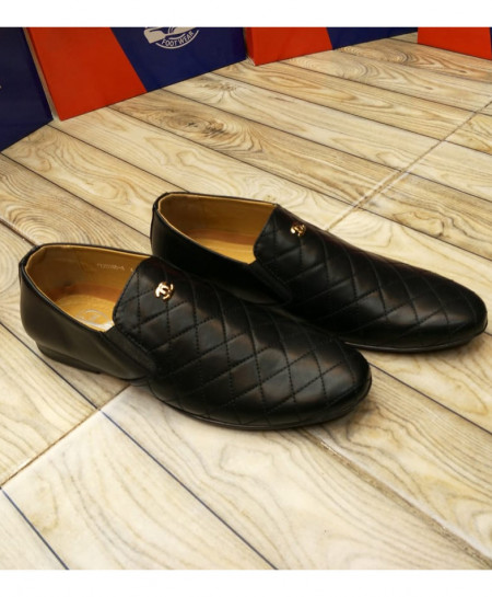 Black Cross Threaded Style Loafers LW-7129