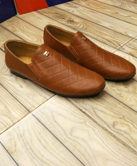 Brown Cross Threaded Style Loafers LW-7130