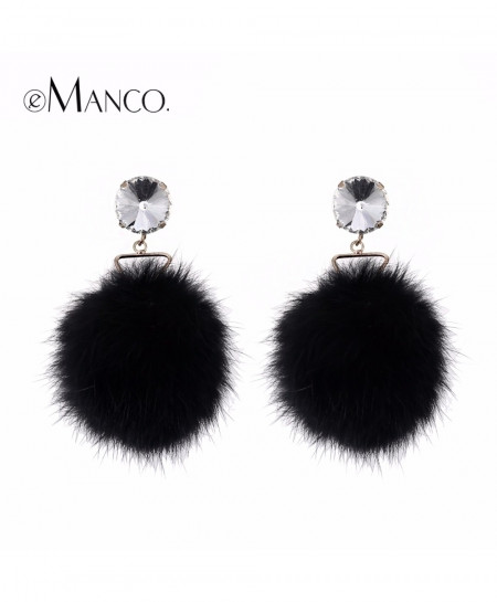 eManco Black Rhinestone Pompon Dangle Earrings