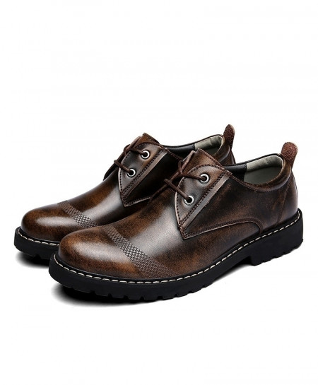 Brown Genuine Leather Shoes Comfy Light Business Casual Shoes