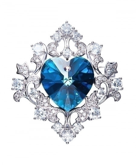 Cdyle Crystals Austrian Rhinestone Blue Heart Shaped Brooch