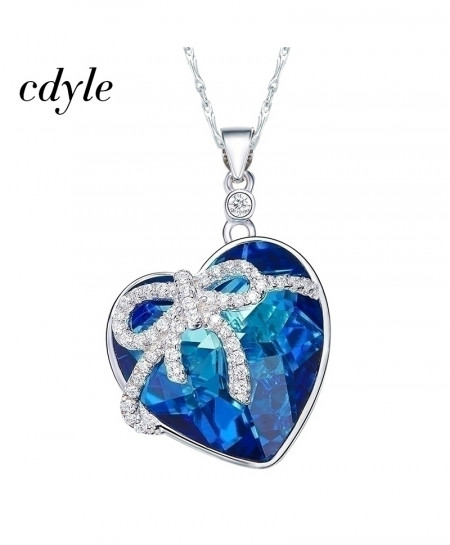Cdyle Crystals Heart Shaped Bow Blue Necklace