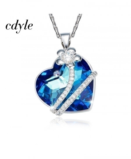 Cdyle Blue Pendants Heart Shaped Luxury Geometric Necklace