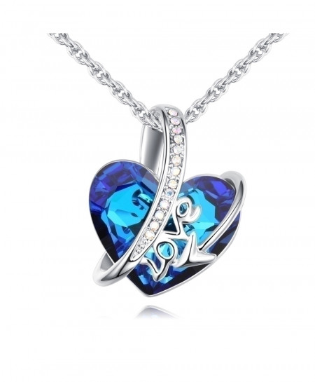 MALANDA Blue Big Classic Heart Shaped Crystal Metal Love Pendant