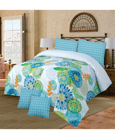 White Blue Floral Cotton Bedsheet PBS-NC-120