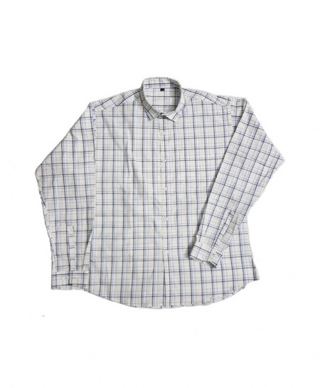 White Plaid Cotton Shirt PSM-597
