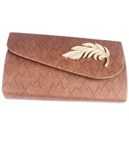 Chocolate Brown Textured Ladies Clutch SPK-144