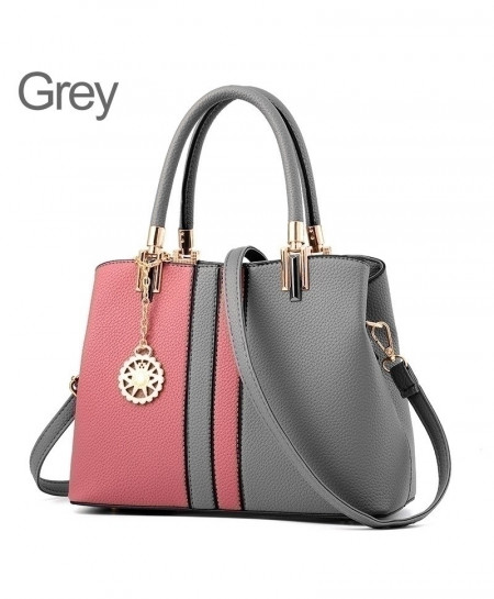 ZMQN Gray Pink Leather Handbag