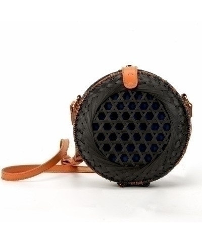 Black Hand Woven Bag Round Butterfly Buckle Rattan Straw Bags