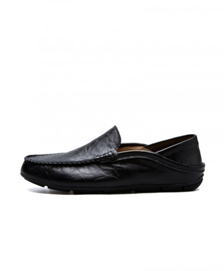 Black Genuine Cow Leather Handmade Slip On Loafers