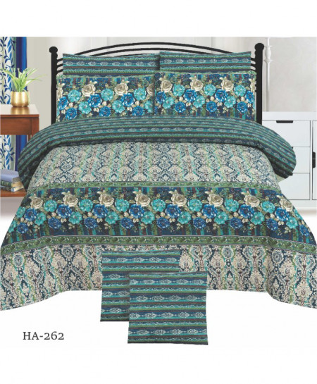 Green MultiColor Floral Cotton Bedsheet PBS-HA-262