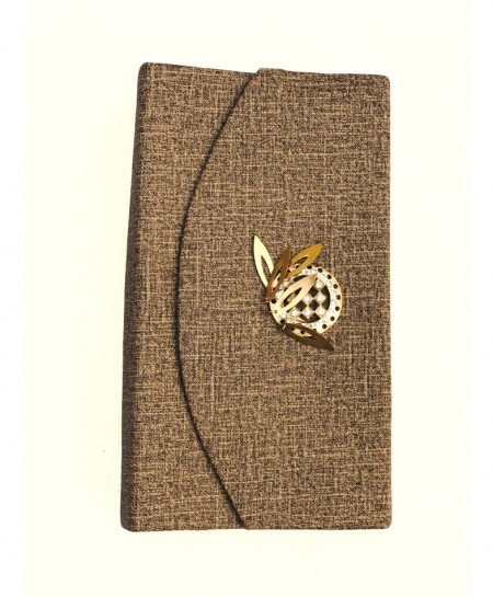 Brown Textured Print Ladies Clutch SPK-156