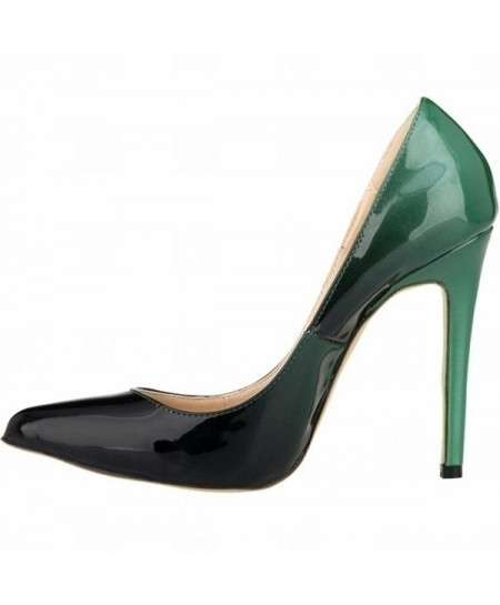 Green Black High Heels Shoes New Pointed Toe Pumps Shoes