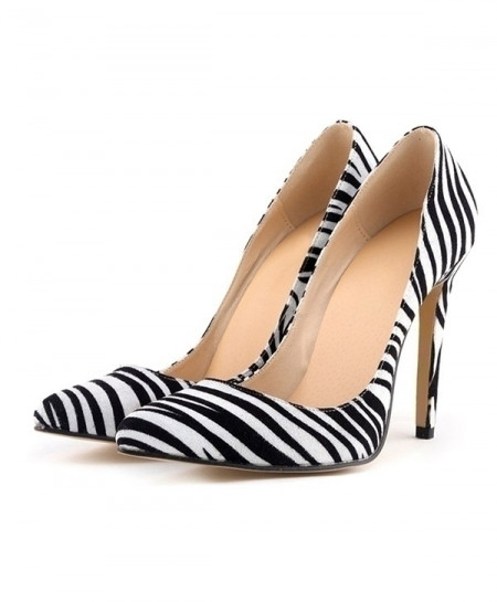 White Stripes Leopard High Heels Pointed Toes Pumps Shoes