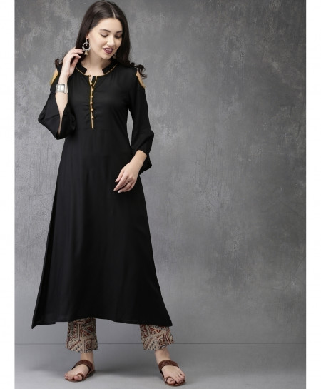 Black Gold Tipping Neck Style Ladies Kurti ALK-162