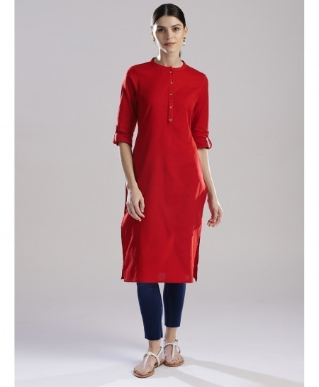 Deep Red Round Button Neck Style Ladies Kurti ALK-161