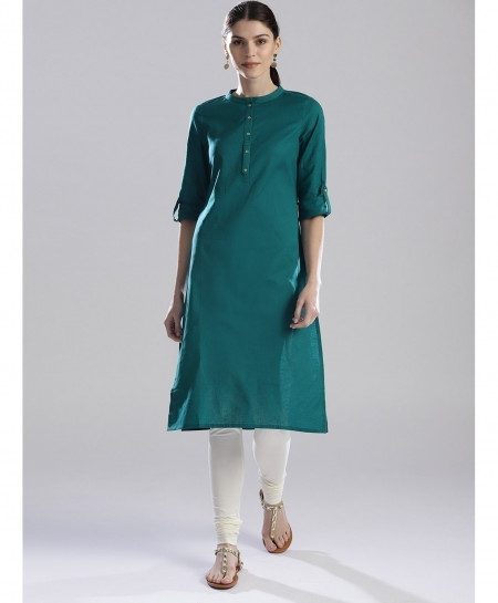 Teal Green Round Button Neck Style Ladies Kurti ALK-156