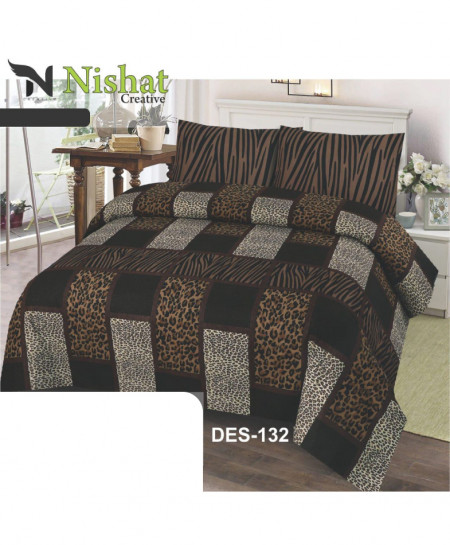 Brown Cheetah Print Cotton Bedsheet PBS-NC-132