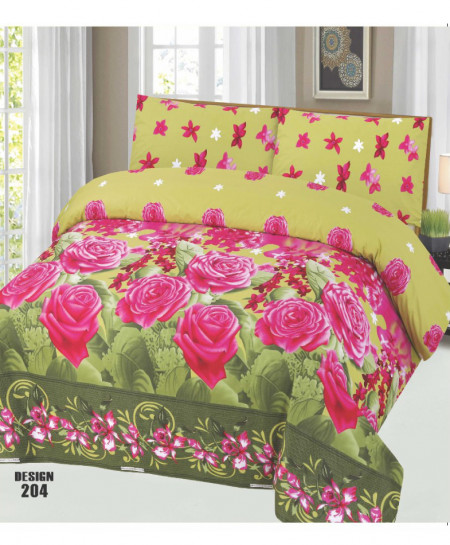 Green Pink Floral Cotton Bedsheet PBS-SO-204