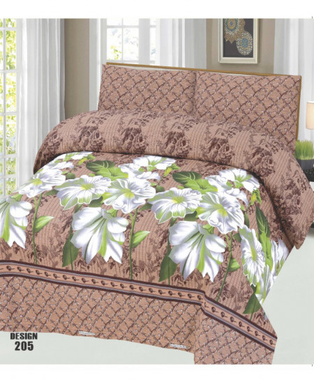Coffee Brown Floral Cotton Bedsheet PBS-SO-205