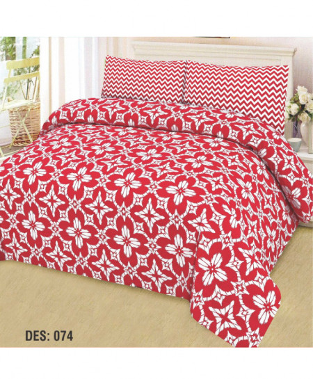 Red White Floral Cotton Bedsheet PBS-AF-074