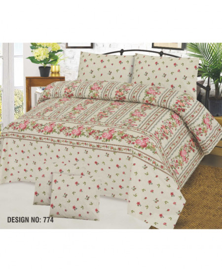 Beige Floral Cotton Bedsheet PBS-EF-774