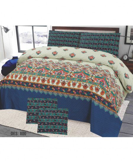 Blue Green Floral Cotton Bedsheet PBS-EF-800