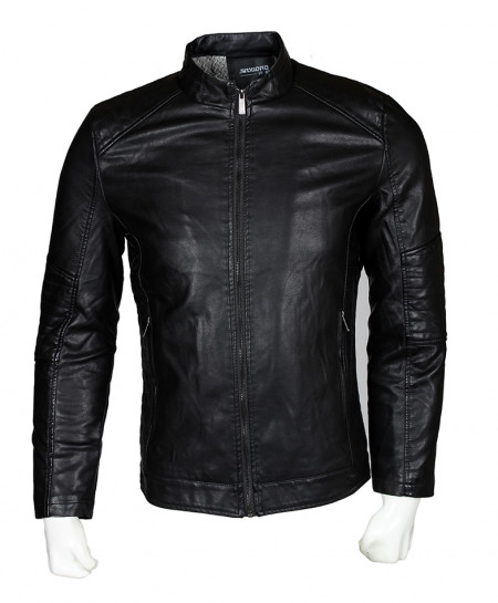 Black Leather Jacket For Men SPK-122