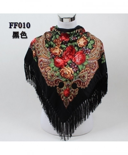 Black Floral Big Square Printed Russian Style Scarf