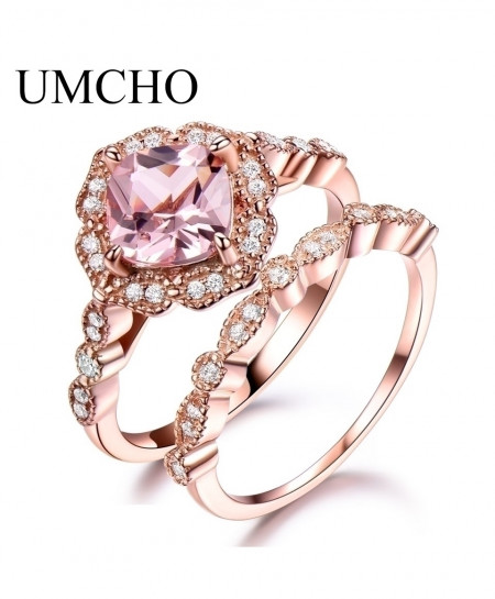 UMCHO 925 Sterling Silver Morganite Ring Set
