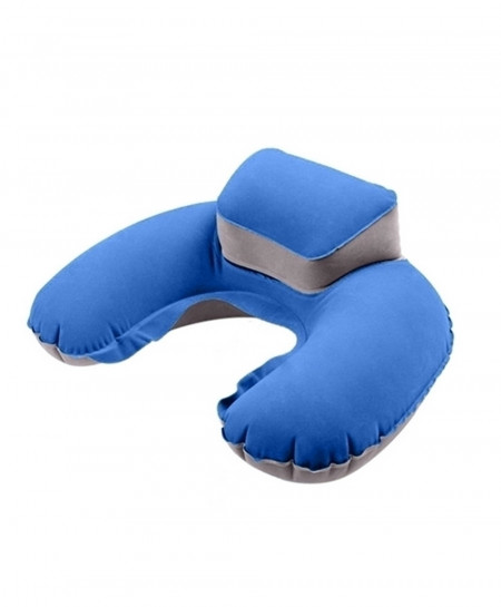 Pack of 3 Blue Portable Travel Inflatable Neck U Shape Pillow