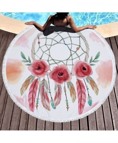 XC USHIO Floral Fur Painting Style Round Microfiber Beach Towel