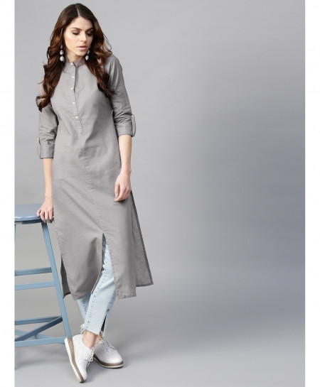 Silver Button Neck Style Ladies Kurti ALK-164