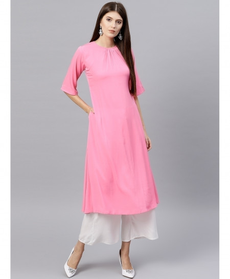 Pink Round Neck Style Ladies Kurti ALK-168