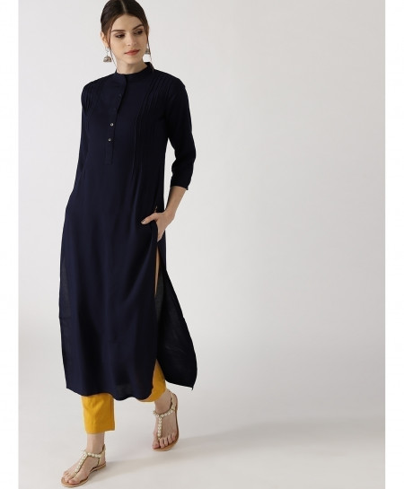 Navy Blue Threaded Pleats Style Ladies Kurti ALK-173