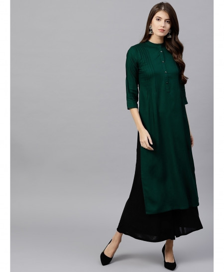 Dew Green Threaded Pleats Style Ladies Kurti ALK-172