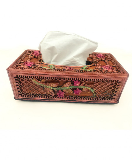 Brown Floral Stylish Tissue Box Holder SPK-179