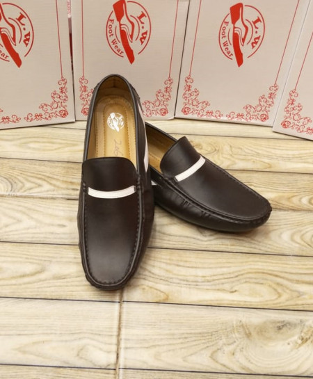 Brown White Stitched Design Slip-on Loafers LW-7148