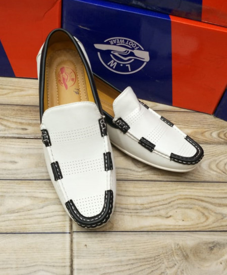 White Stitched Slip On Loafers LW-7144