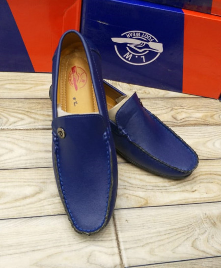 Blue Stitched Side Buckle Design Loafers LW-7160