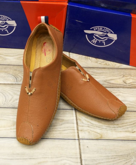 Light Brown Stitched Design Loafers LW-7170