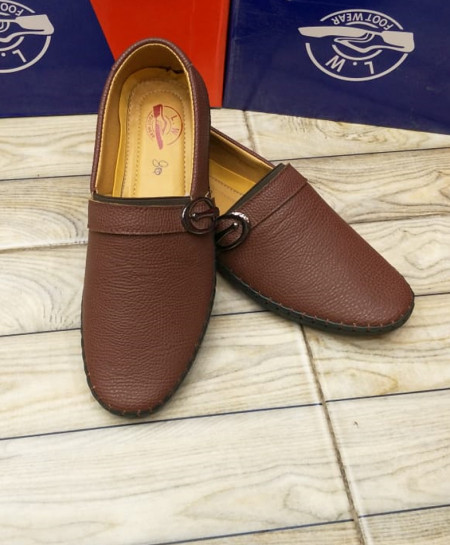 Brown Side Buckle Stirched Design Loafers LW-7173