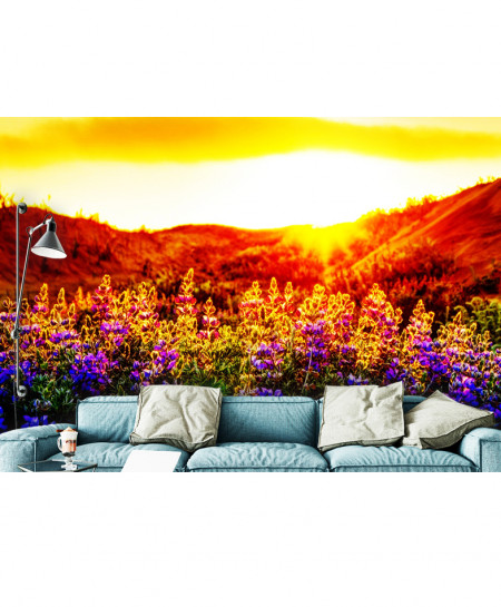 3D Modern Lupines at Sunset Wallspiration BNS-162