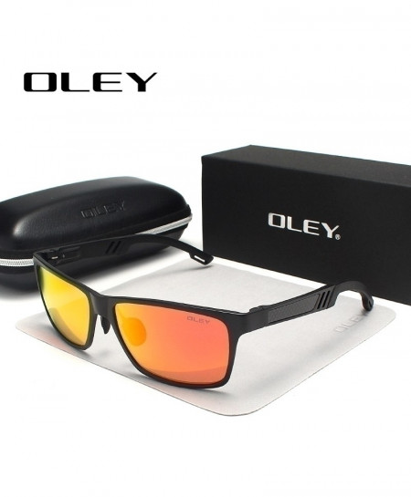 OLEY Gray Orange Polarized Rectangle Aluminum Magnesium Sunglasses