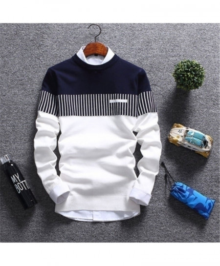 Navy White Patchwork Long Sleeve Casual Sweater