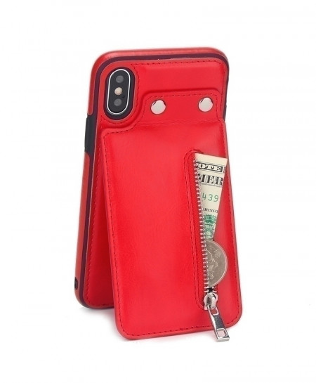 Red Leather Case Card Zipper Flip Cover Wallet