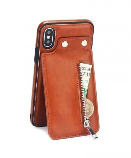 Brown Leather Case Card Zipper Flip Cover Wallet