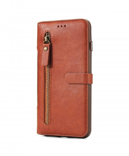 HAISSKY Brown Leather Zipper Flip Cover Luxury Magnetic Car Phone Case